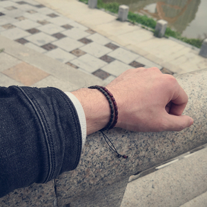 Image 3 - MOFRGO Glück Holz Tibetischen Buddha Perlen Armband Einfache Gebet Yoga Armband Amulett Meditation Armbänder Für Männer Frauen Einstellbare