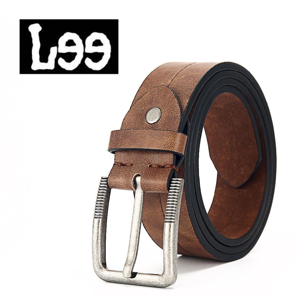 L99 в винтажном стиле пряжкой Искусственная кожа ремни для мужчин 110 см коричневого цвета высокого качества мужские пояса мужской ремни для м...