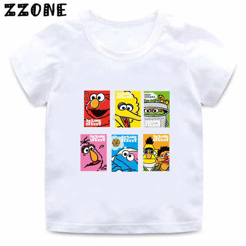 Boys and Girls The Sesame Street Cartoon Print T shirt Kids Cookie Monster and Elmo Funny Clothes Baby Summer T-shirt,ooo5255