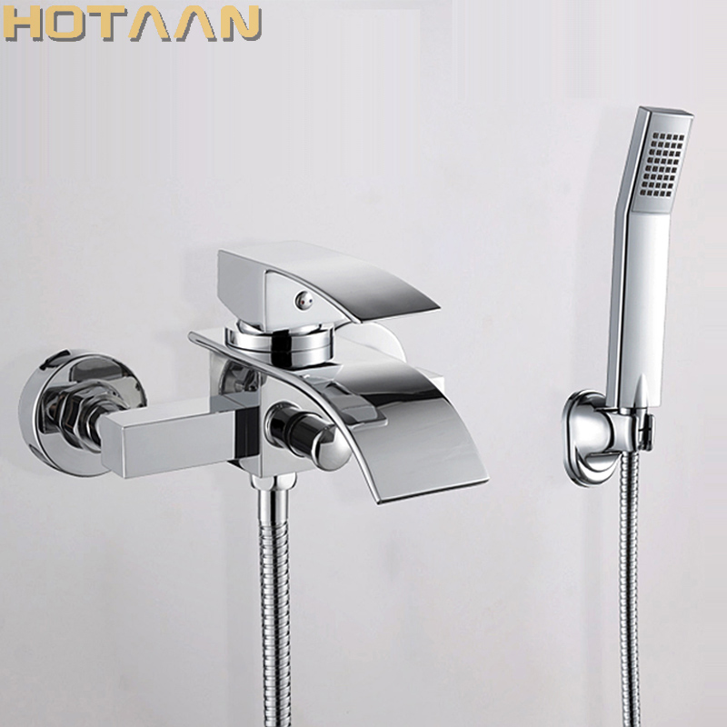 Free shipping Polished Chrome Finish New Wall Mounted Waterfall Bathroom Bathtub Handheld Shower Tap Mixer Faucet YT-5330 thermostatic bathroom shower faucet solid brass bathtub mixer tap chrome finish wall mounted