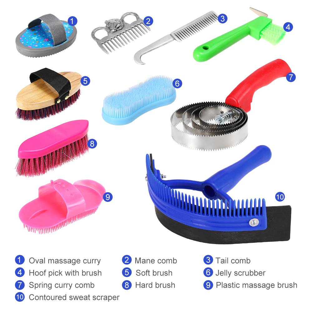 10-IN-1 Horse Grooming Tool Set Cleaning Kit Hoof Pick Sweat Scraper Mane Tail Comb Massage Curry Brush Curry Comb Scrubber