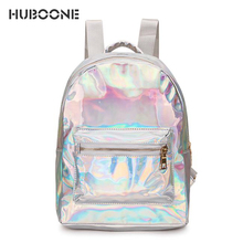 HUBOONE Laser Holographic Backpack Women Mini Travel Backpack Female Shoulder Bag PU Leather School Backpack For Teenage Girls цена в Москве и Питере