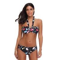 P J New 2018 Retro Sexy Floral Print Bikini Set Swimwear Womens Swimsuit Bathing Suit Beach