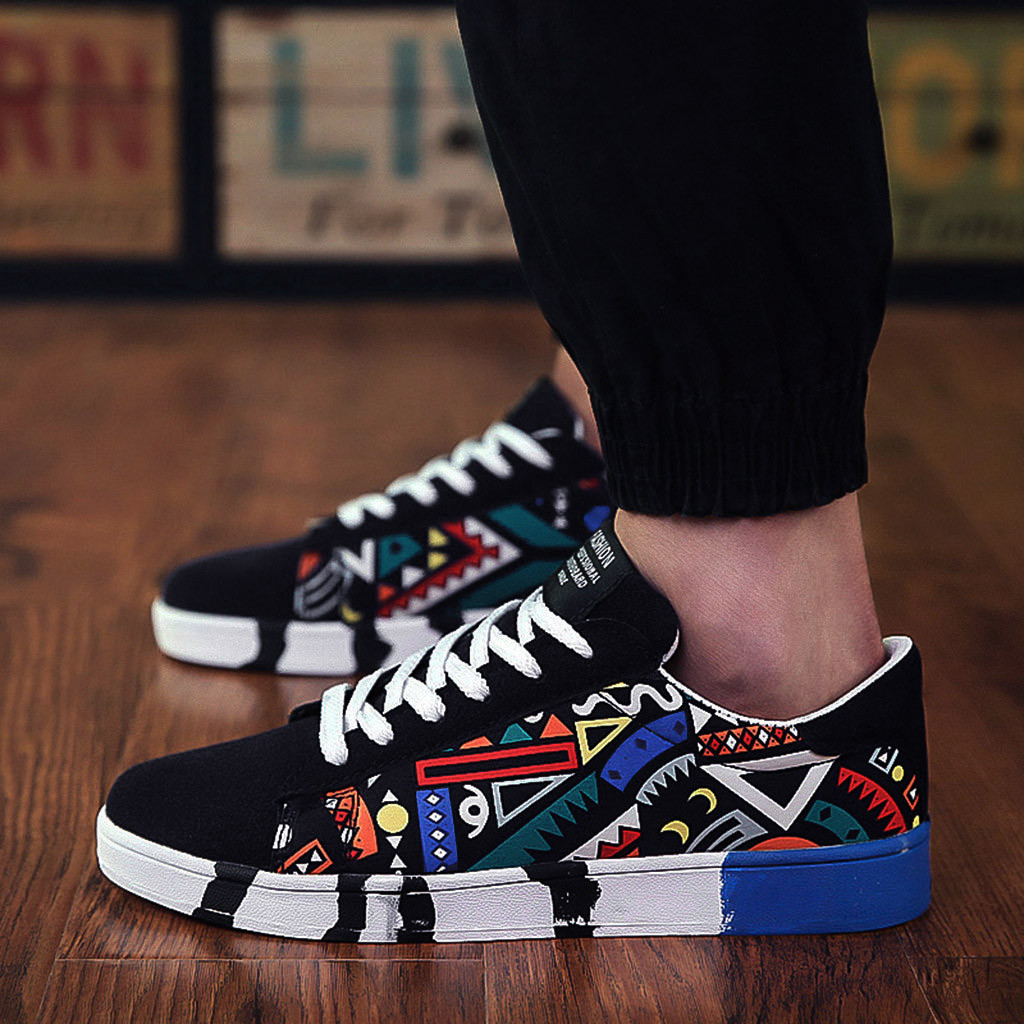 Shoes Sneakers Vulcanized-Shoes Graffiti-Board Canvas Sport Casual Fashion New Colorful