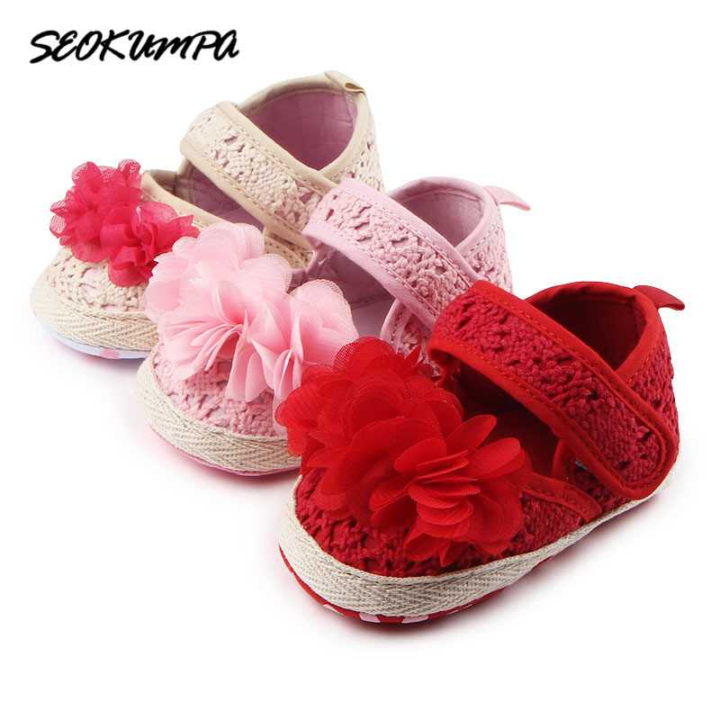 2018 Newborn First Walker Toddler Baby Girls Cotton Hollow linen Infant Soft Sole Shoes Soft Bottom Bebe Wedding Girls Shoes
