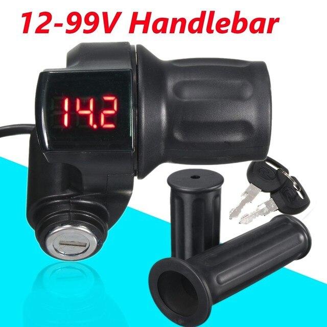 Conjunto Preto 12 V-99 1 V Para EBike Scooter Elétrico Da Motocicleta Do Punho Do Acelerador Guiador LED Medidor Digital com chave