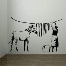 Banksy zebra listras lavanderia adesivo de parede arte mural casa decalque decoração da sua casa adesivos de parede,