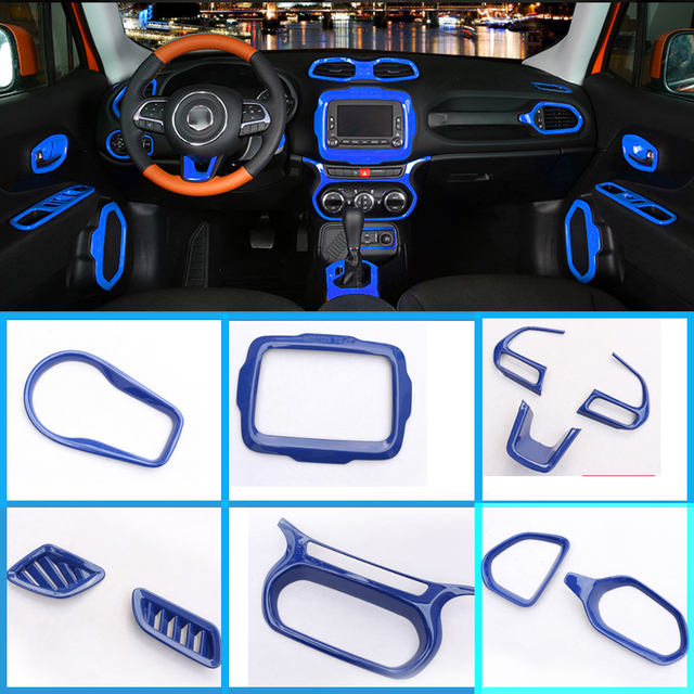 Jeep Renegade Interior >> Car Styling Car Accessories Blue Interior Inner Part Trim Frame For
