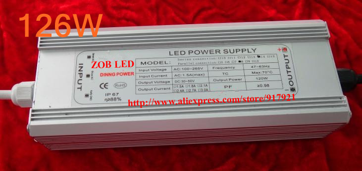 126w led driver, DC54V,2.7A,high power led driver for flood light / street light,IP65,constant current drive power supply