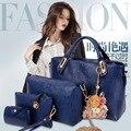 Famous Brand Women Bag Top-Handle Bags 2016 Fashion Women Messenger Bags Handbag Set PU Leather Composite Bag #150