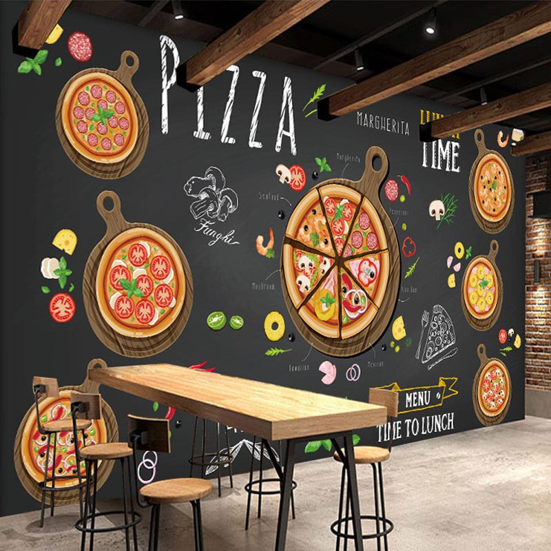 Custom 3D Photo Wallpaper Hand Painted Pizza Large Mural Self-adhesive Cafe Dessert Shop Restaurant Pizza Shop Decor Wall Murals