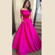 Fuchsia Pink Long Prom Dresses Sexy Off the Shoulder Boat Neck A Line Satin Evening Party Dress vestidos de gala 2018