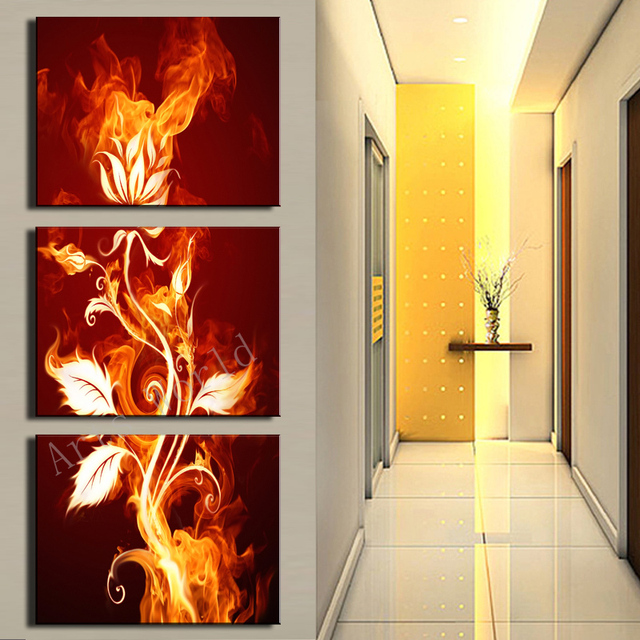 Hot Sale 3 Pcs Abstract Flower Canvas Painting On The Wall Art Oil ...