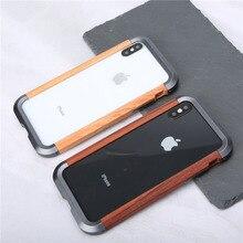 เคสโทรศัพท์สำหรับ iPhone 11 11 Pro 11 Pro Max Luxury โลหะอลูมิเนียมไม้กันกระแทกสำหรับ iPhone XS X