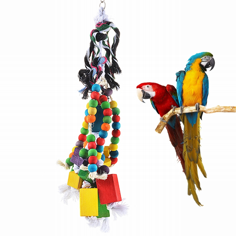 1set Parrot Chew Toy Pet Bird Accessories Biting Block Hanging Swing Cage Toys For Parrots 50x16cm Wood Multicolor Toy Driving A Roaring Trade Bird Supplies Bird Toys