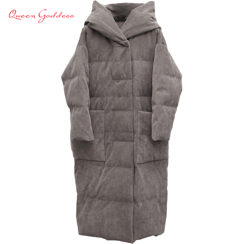 Winter simple type Big pocket and hooded thick 90% white duck down women long jacket causal warm parkas Surprise or gift to mum