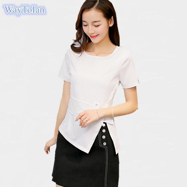 2e0e94bf9b51 WayToIan Blusas Femininas 2018 New Fashion Women s O Neck Summer Chiffon  Blouses Cute Sleeveless Shirts Casual Slim Brand Tops
