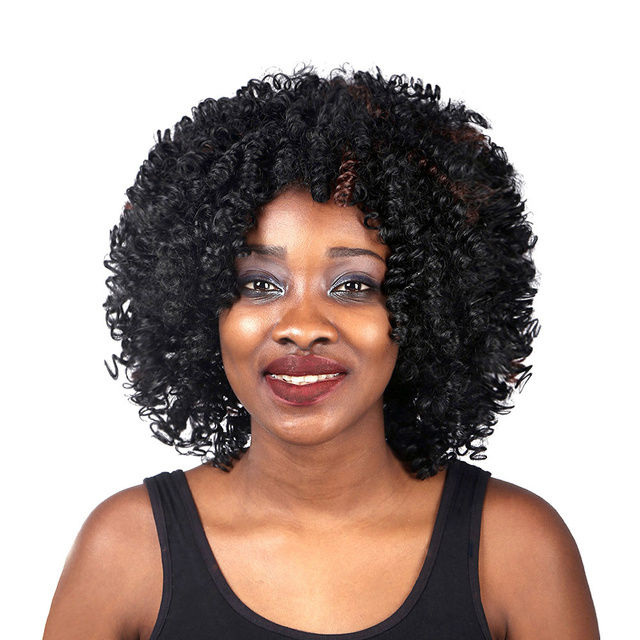 Fashion Natural Kinky Curl Heat Resistant Hair Synthetic Wigs With