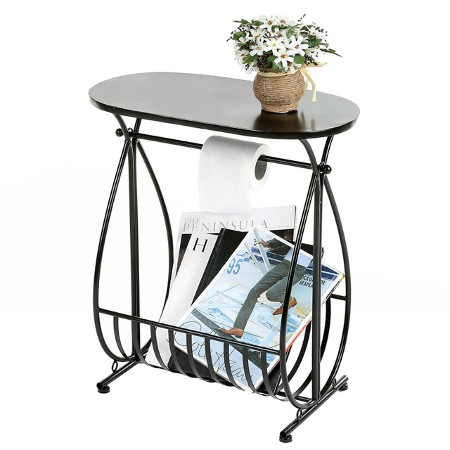 Metal Bathroom Storage Table With Toilet Paper Roll Holder And Magazine Rack 54x48x26 5cm