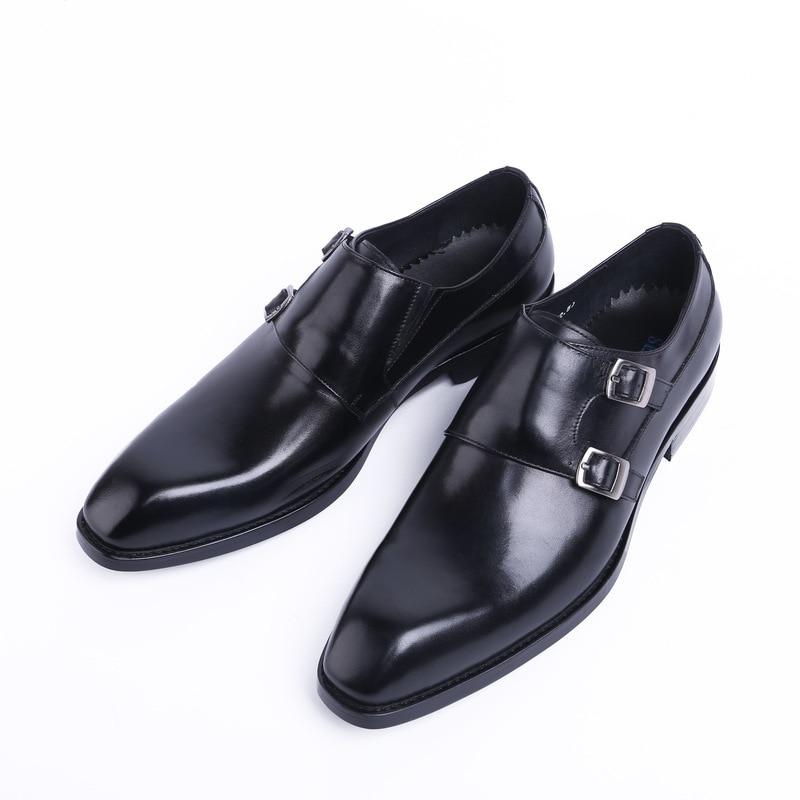 2 Marke 1 Luxus Grade Mens Mann Hohe Kleid Leder Arbeit Männer Schuhe Echtes Hochzeit Spitz Schnalle Design Mode Neue URqwzHT