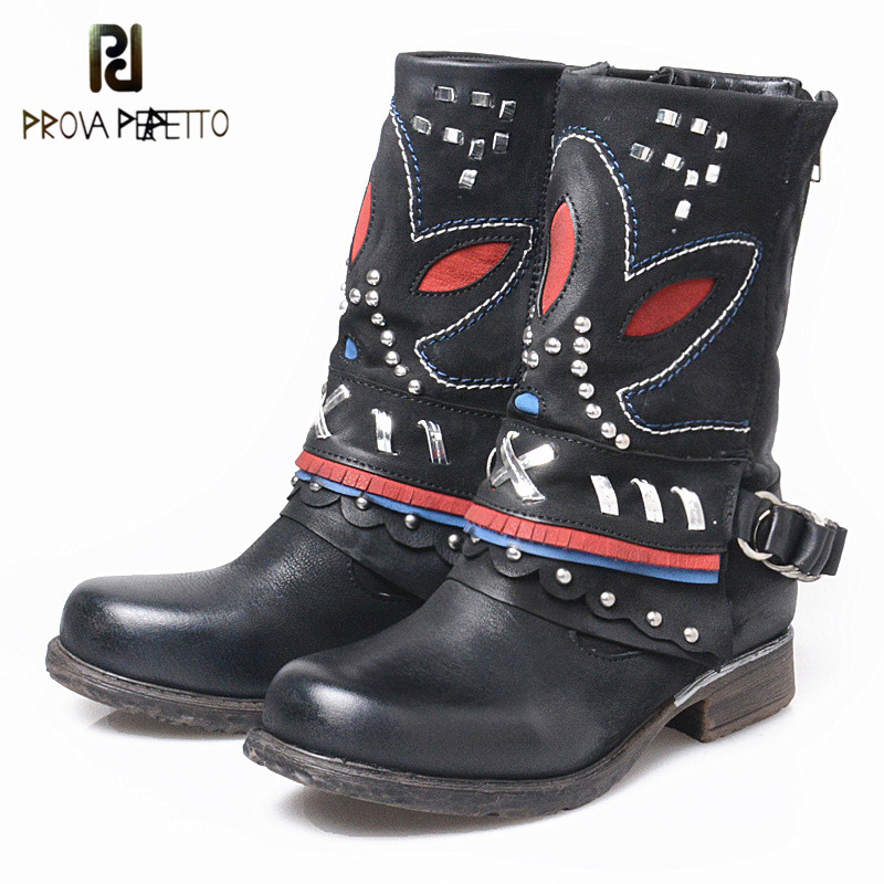 Prova Perfetto Warm Genuine Leather Thick Bottom Round Toe Women Mid High Boots Retro Embroider Zipper-side Low Heel Boots prova perfetto red color punk style genuine leather thick bottom woman mid boots solid round toe low heel rivet martin boots