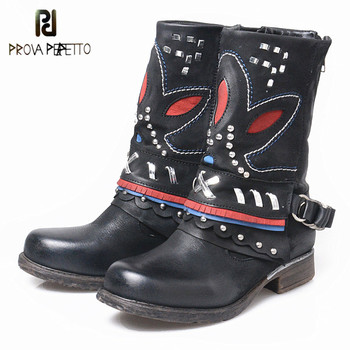 Prova Perfetto Warm Genuine Leather Thick Bottom Round Toe Women Mid High Boots Retro Embroider Zipper-side Low Heel Boots