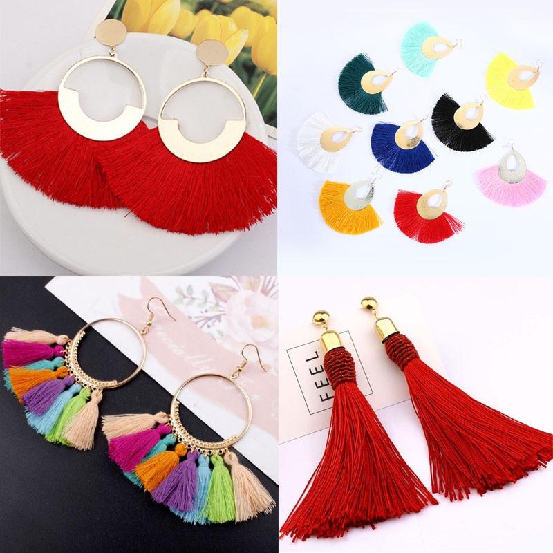 Fashion Bohemian Tassel Earrings Women Brincos Boho Statement Long Earings Circle Vintage Dangle Earring New Year Jewelry Gift