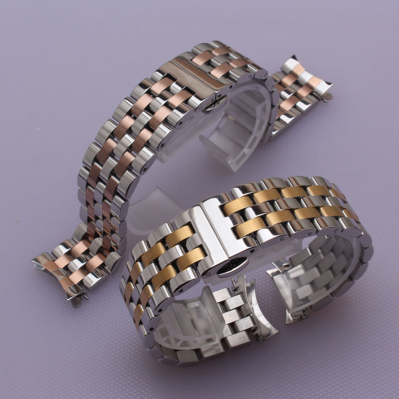 16mm 18mm 20mm 22mm 24mm Watchband Bracelet stainless steel silver and rosegold metal deployment curved end
