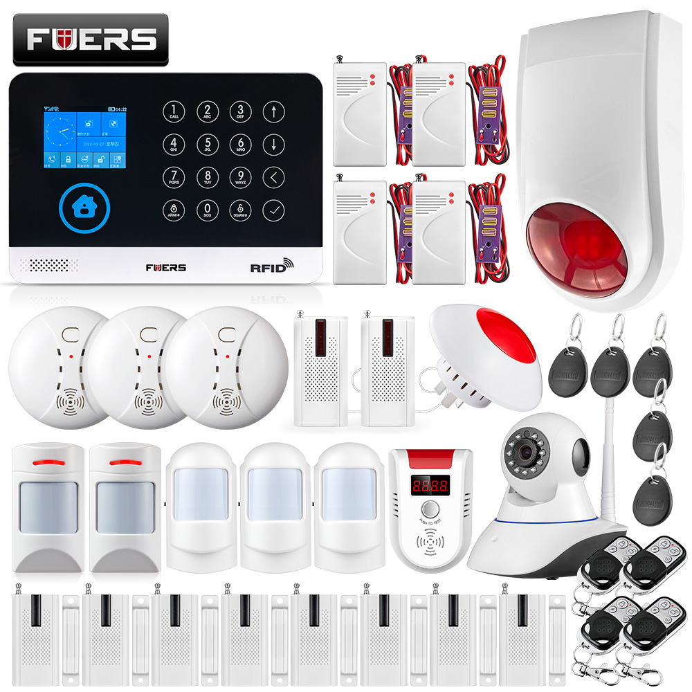 FUERS WG11 Wireless GSM Home Security Alarm System LCD Touch WiFi GSM Siren RFID Motion Pet PIR Gas/Smoke Sensor IP Camera Kit fuers wireless home security gsm wifi sim alarm system ios android app remote control rfid card pir door sensor siren kit