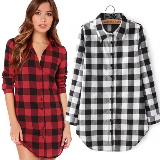 c849f5949e1 European Style Autumn New Long Classic Red Black White Black Checkered Plaid  Print Shirts Camisa Femininas For Women Tops 2015