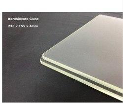 Flashforge dreamer, pro e criador 235x155x4mm 3mm cama de impressão de vidro borosilicato 3d impressora ctc