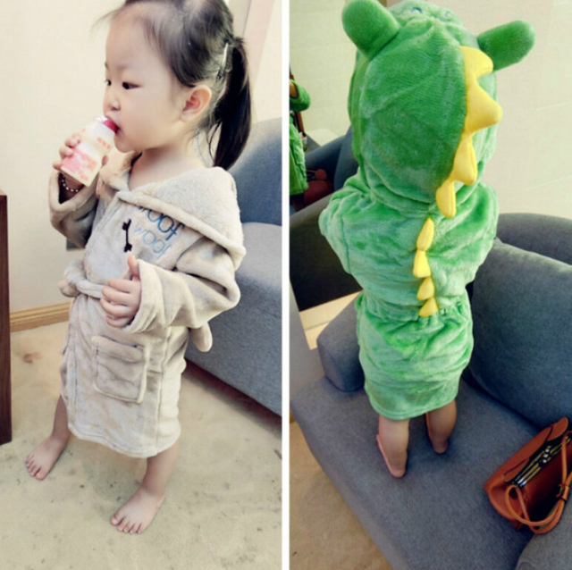 2a198dd00156 Cartoon Dinosaur Robes Loungewear Children s Nightwear Cute Dog Kids  Pajamas Baby Boys Girls Coral Fleece Sleepwear for children