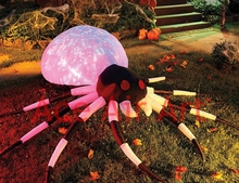 Inflatable Halloween Lawn Decoration Inflatable Crawl Spider With Neon  Lights