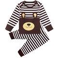 Conjuntos de Roupas de bebê Menino Dos Desenhos Animados Outono Primavera Infantil Roupa Bonito Conjunto de Manga Comprida T-shirt + Calças 2 Pcs Listras animais Ternos Recém-nascidos