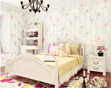 beibehang Korean idyllic non-woven pressure papel de parede wallpaper 4D simple modern children's room living room background