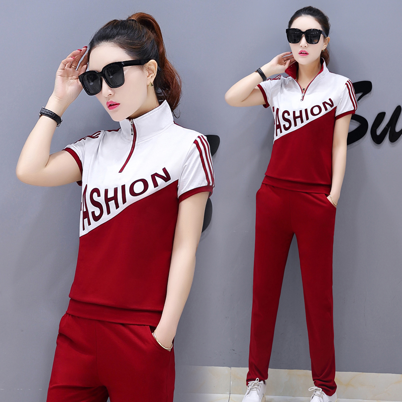 YICIYA Red Suits Tracksuits For Women 2 Piece Set Pant And Top Outfit Sportswear Co-ord 2019 Summer Plus Size Stirped Clothing