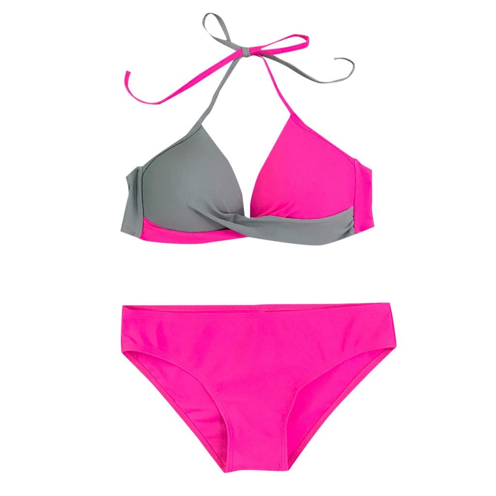 HTB112QOVZfpK1RjSZFOq6y6nFXad 7 Colors Womens Padded Push-up Bra Tankini Bikini Set 2019 Swimsuit Low Waist Bathing Suit Swimwear Two Pieces Halter Beachwear
