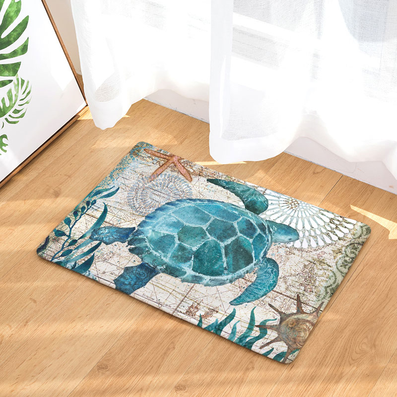 Hyha Marine Animal Waterproof Anti-Slip Floor Mat Ocean Sea Octopus Carpets Bedroom Rugs Decorative Stair Mats Home Decor Crafts