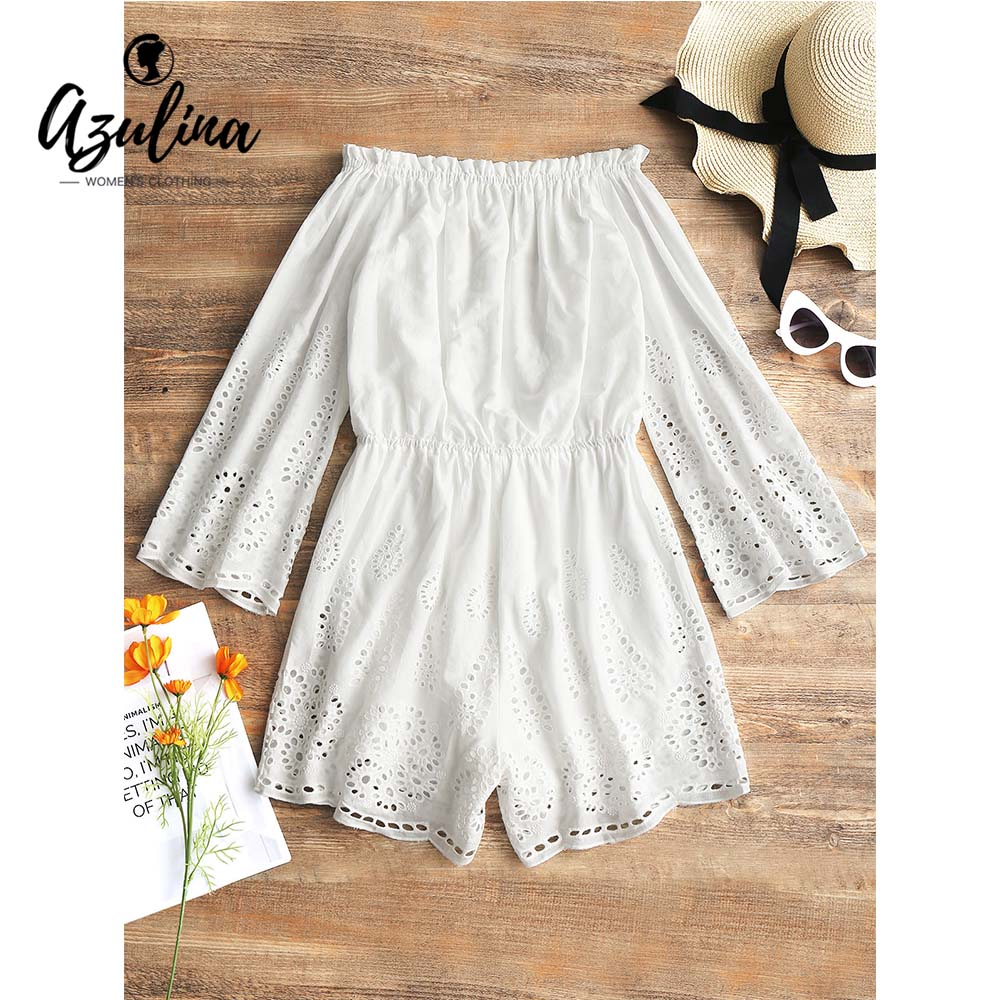 5bdcfa27c90c Aliexpress.com : Buy AZULINA Women Off Shoulder Laser Cut Romper Girls  Clothes Summer Beach Romper White Playsuits Casual Mini Jumpsuits For Women  from ...