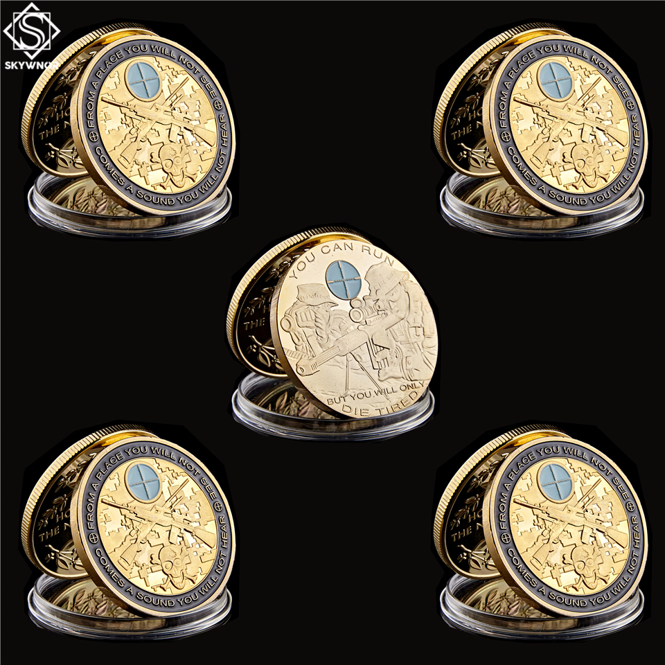 5PCS USA Sniper Skull Gun Military Army Freedom America Gold Coin Collection