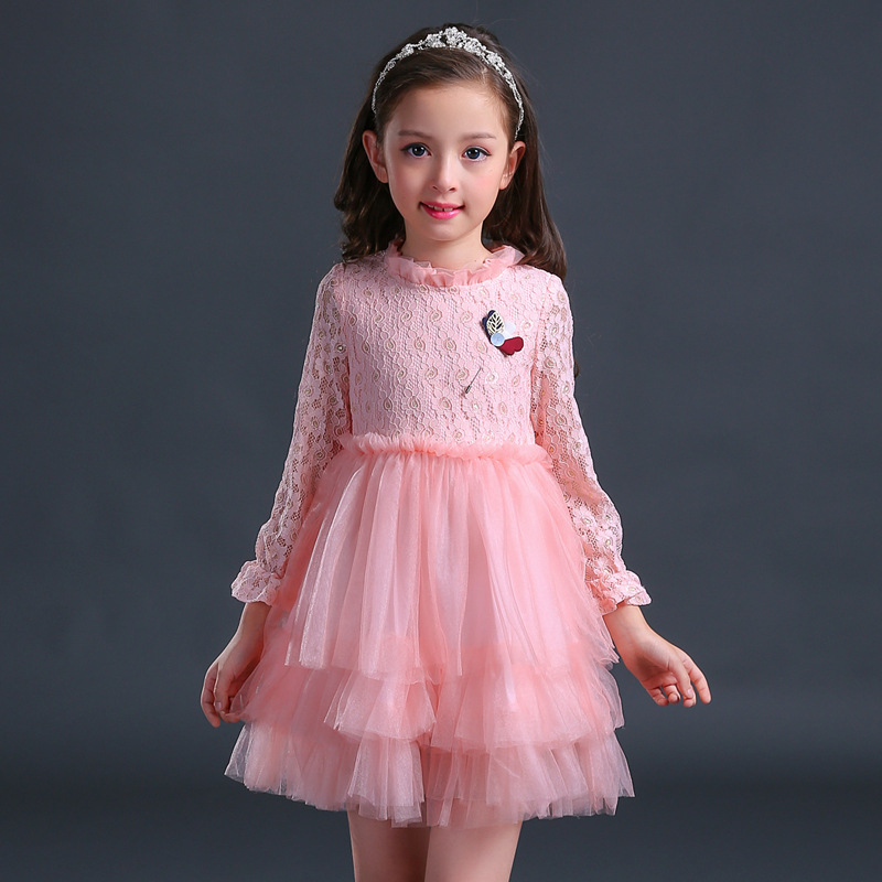 kids dresses for fancy baby girls party wear lace long sleeve dress children clothing autumn 2017 age 2-7 8-10 11 to 12 years стоимость