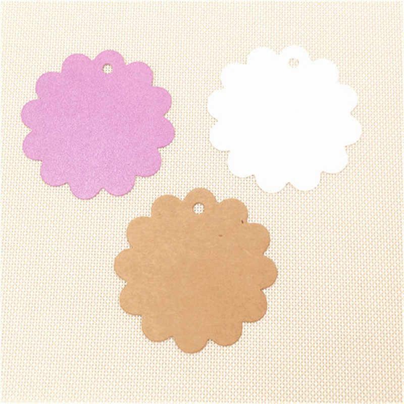น่ารักดอกไม้ 6 ซม. รอบกระดาษคราฟท์ Hang แท็ก Wedding Party Favor ของขวัญตกแต่งแท็กกระเป๋าเดินทางป้ายเสื้อผ้า 50 ชิ้น/ล็อต 5 สี