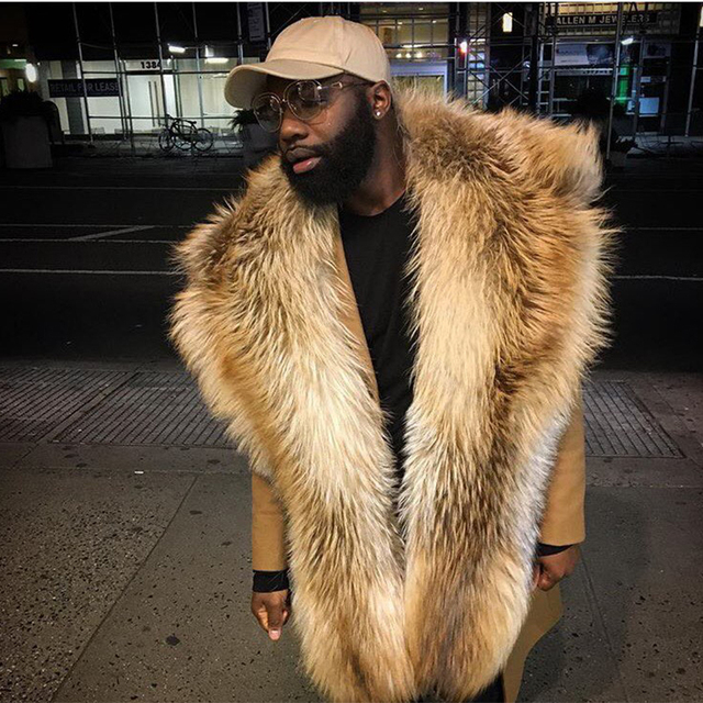 Brand Besty Man High-End Hip-hop Styled Real Natural Raccoon Fur Shawls Big Genuine Leather Real Fur Wrap For Male