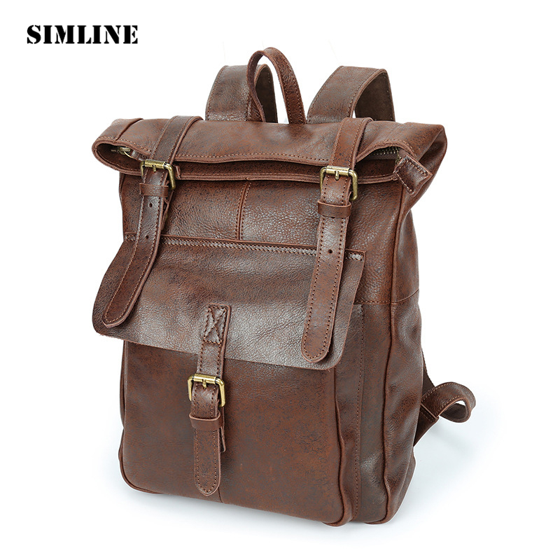 SIMLINE Vintage Casual Genuine Leather Cowhide Men Women Male Large Capacity Travel Backpack Shoulder Bag Bags Backpacks For Man men s genuine leather double shoulder backpacks real cowhide leather backpack for men brand bags man multi fuctional bag