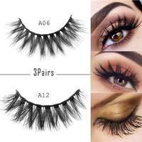 3 Pairs Cross Long False Eyelashes Natural Makeup Voluminous Handmade Reusable Wispy Eye Lashes Extension Make up Beauty Tools False Eyelashes