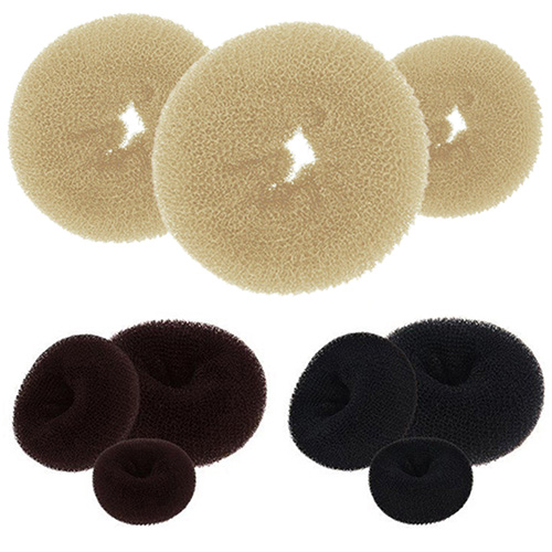 3Pcs Beige Magic Blonde Donut Hair Ring Bun Former Shaper Hair Styler Maker Tool