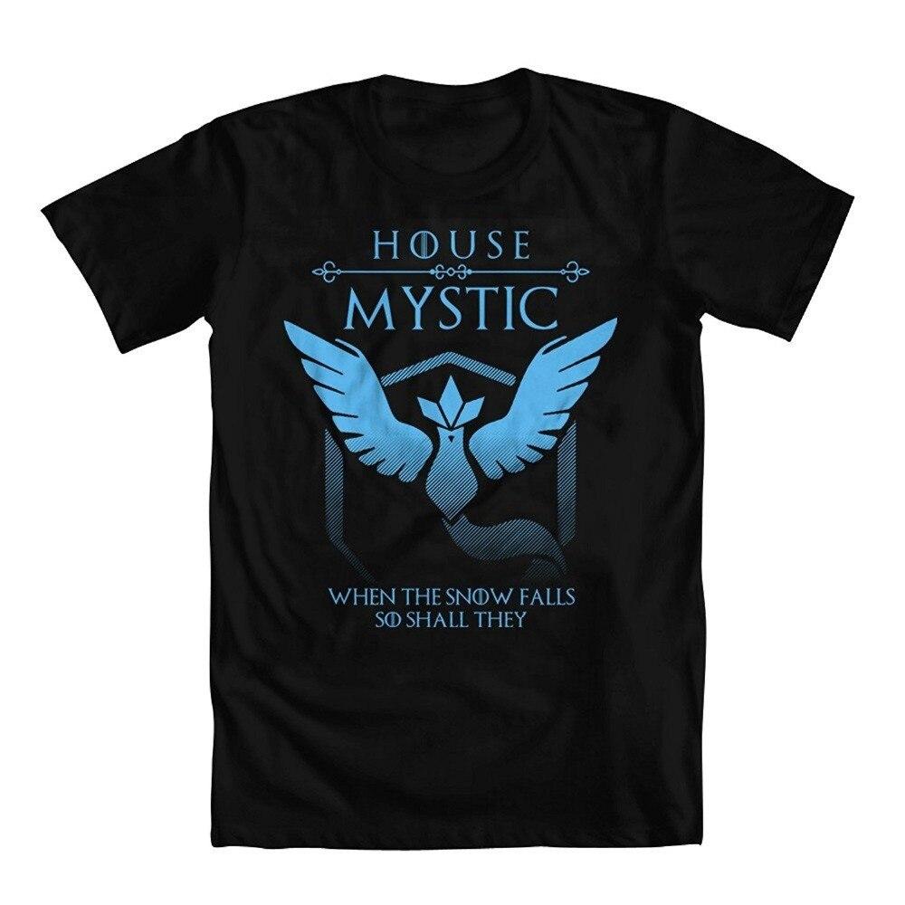 Hot Sale Fashion Game of Thrones Parody Pokemon Go Team Mystic Mens T-Shirt Printed t shirt Men t shirt Casual Tops