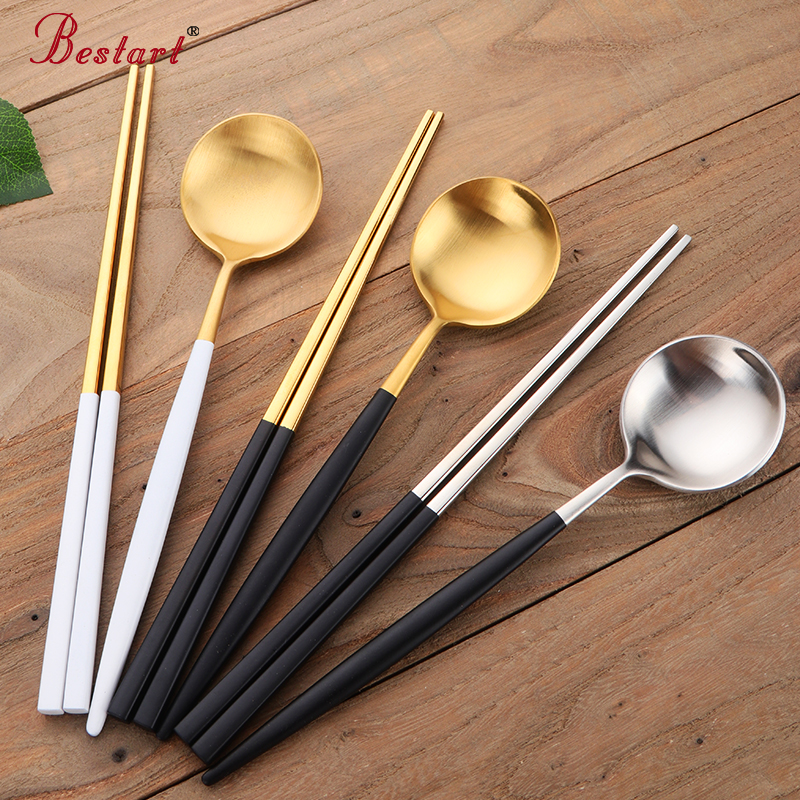 <font><b>Chopsticks</b></font> Spoon Set 18/10 Stainless Steel Reusable <font><b>Chopsticks</b></font> Dessert Spoons Travel Tableware Set Home Kitchen Dinnerware image