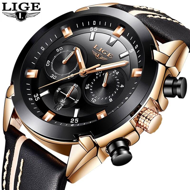 LIGE Для мужчин s часы лучший бренд Бизнес Роскошные Кварцевые часы Мужская Мода Бизнес Повседневное спортивные Водонепроницаемый часы Relogio ...