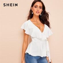 e6712c8a9 SHEIN Abaya elegante profundo blanco con cuello en V y volante de ajuste de  anudada blusa